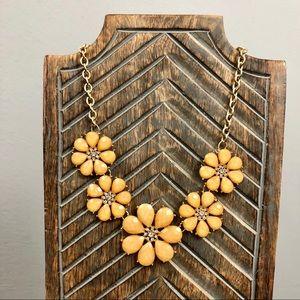 Yellow Flower Rhinestone Statement Necklace